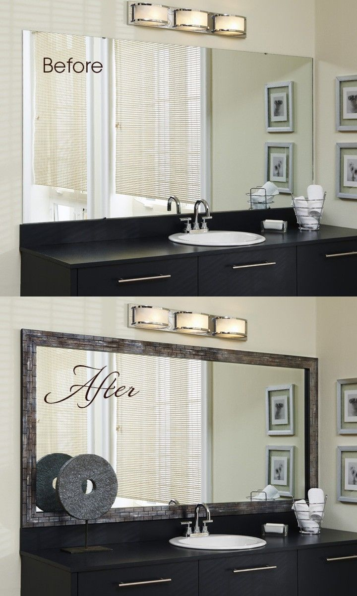 Go from bland to grand in minutes with the addition of a MirrorMate mirror frame to that large, plate glass mirror.