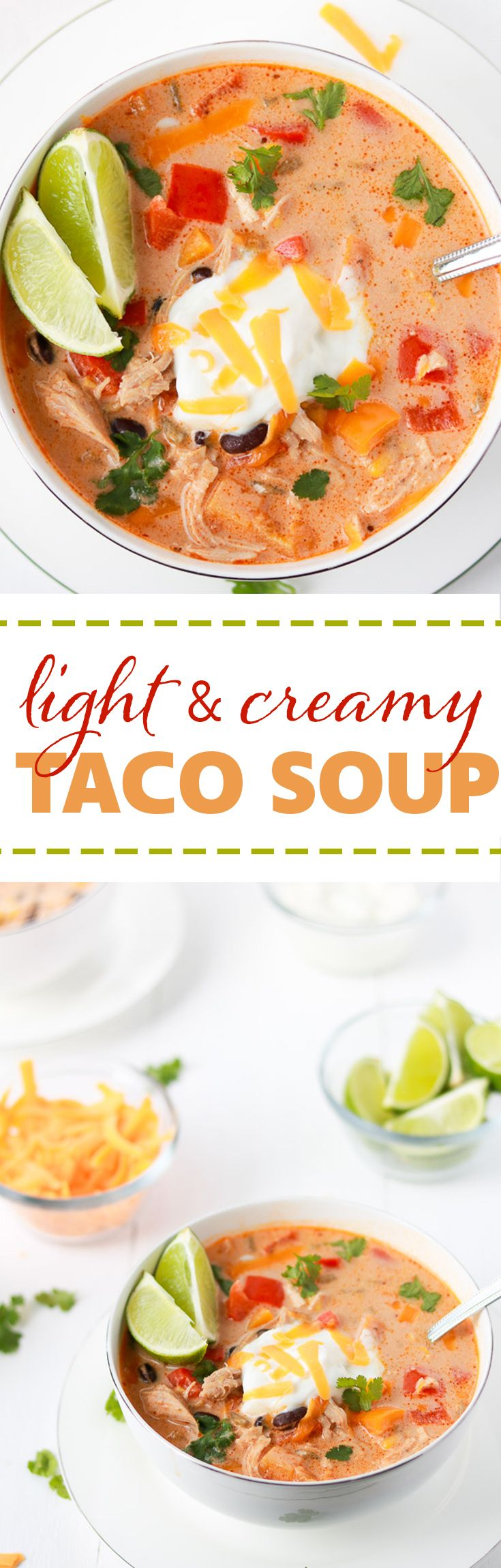 Light and Creamy Taco Soup | Deliciously creamy while still being light and healthy. It is packed with chicken, beans, corn, peppers and surrounded by an ultra smooth sauce. It is easy and quick to make and is delicious eaten immediately or reheated as leftovers.