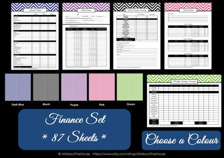 BLACK Finance Set - Instant Download - AllAboutTheHouse - chevron - monthly budget, spending summary, finance binder dividers, paid bills checklist, finance calendar, annual spending summary, financial goals, debt tracker, spending record tracker, note paper, monthly binder dividers, binder dividers - printable and personalised binder cover and spine. Available here http://www.allaboutthehouseprintables.com.au/instant-download-bundles/black-finance-set-instant-download/