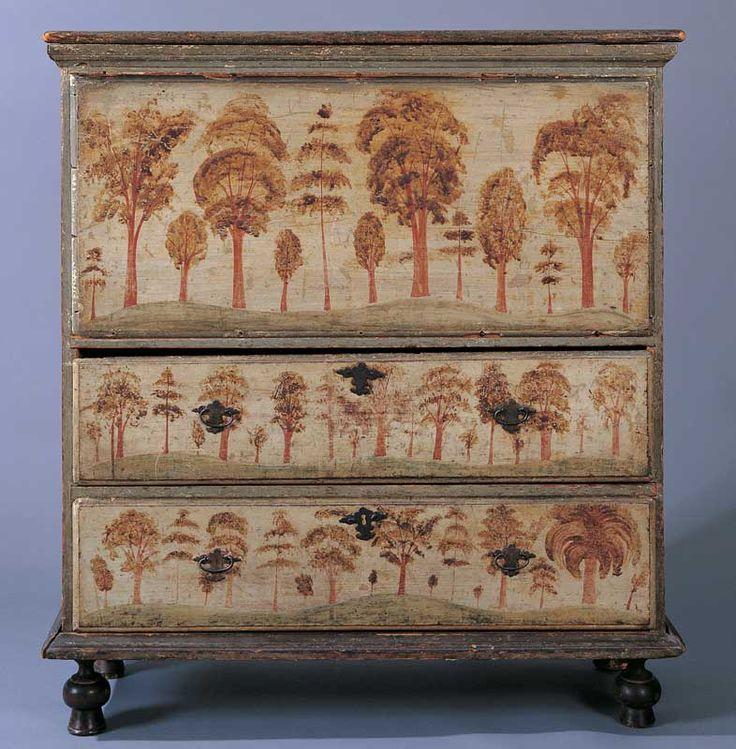 Wonderful Folk Art Blanket Chest Painted In 1740