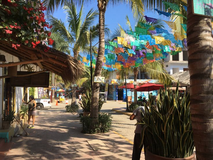 A festive street in Sayulita, Jalisco, Mexico.  A great vacation place!