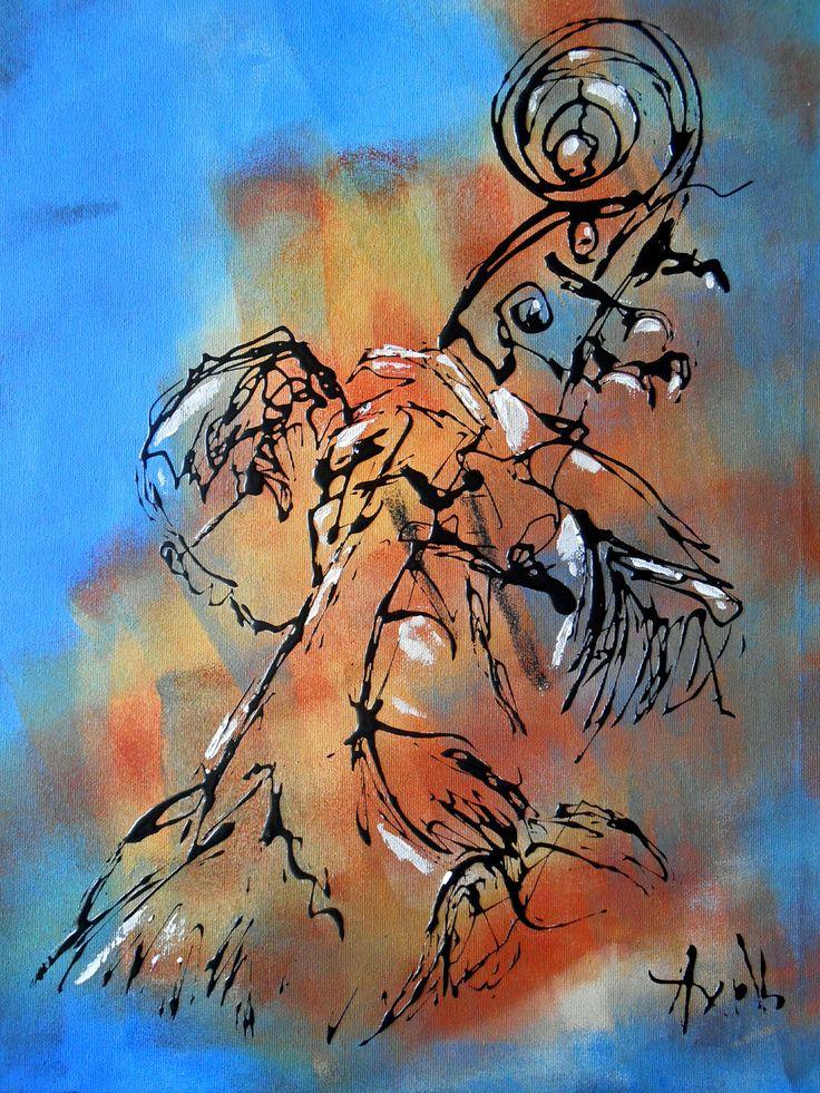 Tableau design contrebasse peintures axelle bosler peintures par peintures axelle