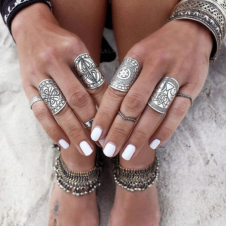 Ring Set Antique tibetan Gypsy Boho Knuckle Rings