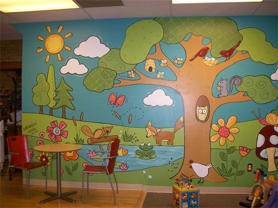 Great mural for the preschool department the colors the for Classroom wall mural ideas