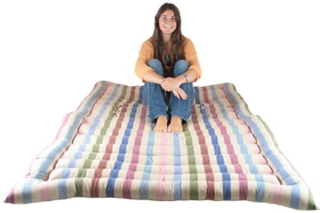 This hand-made double roll up bed is great for any camping trip or for any time when you are struggling for space. It's soft, wonderfully versatile and can easily be rolled up when you've finished with it - more importantly however; it is one of the cheapest ways to get a good night's sleep!
