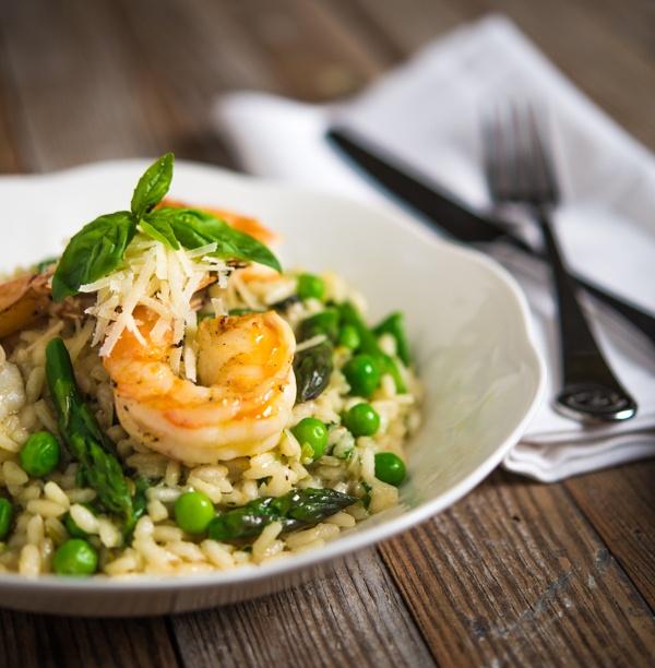 Spring Risotto with Lemon Garlic Shrimp | foodbites&common | Pinterest