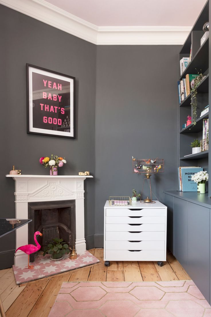 Pink and dark grey Downpipe home office with white Edwardian mantelpiece and Ikea storage drawers