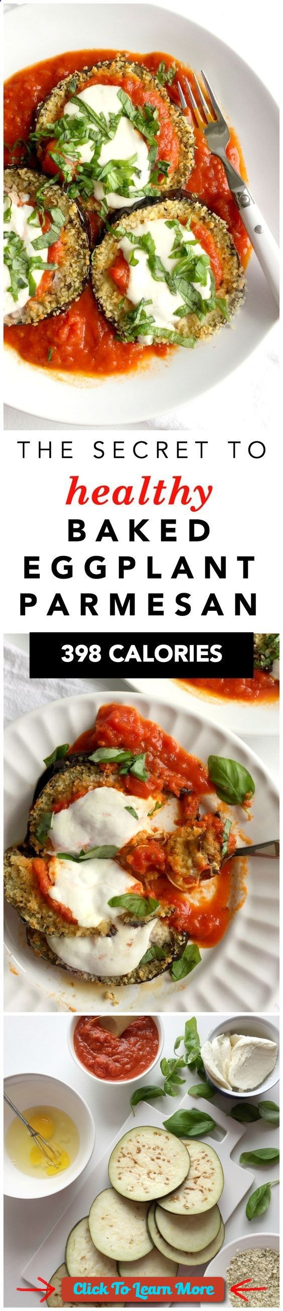 #FastestWayToLoseWeight by EATING, Click to learn more, Healthy Baked Eggplant Parmesan Recipe! The secrets on how to make healthy baked eggplant parmesan recipe with panko bread crumbs and fresh mozzarella! 398 calories per serving:: , #HealthyRecipes, #FitnessRecipes, #BurnFatRecipes, #WeightLossRecipes, #WeightLossDiets