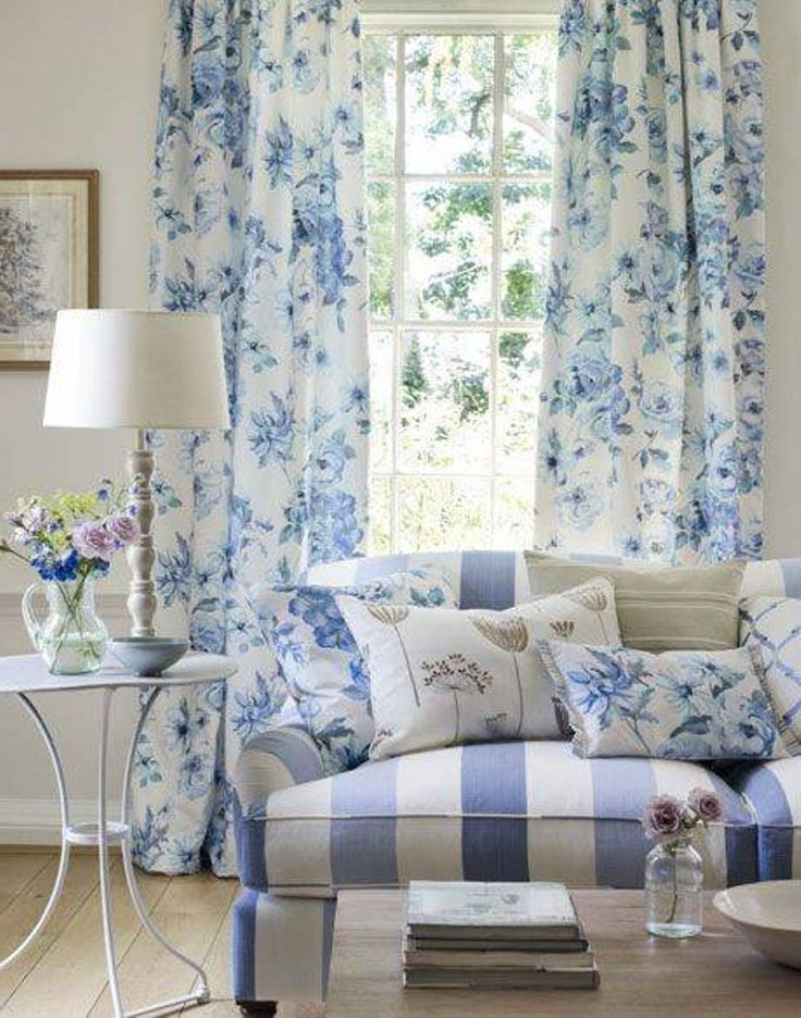 Beautiful Floral Blue French Country Curtains In Living