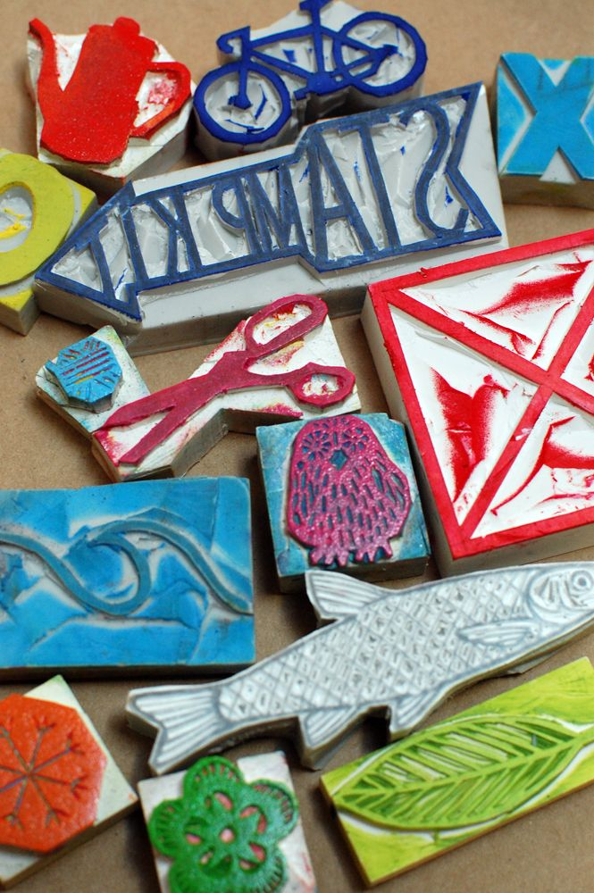 Learn to carve your own stamp and print your own gift wrap at Krank Press' Feliz Workshop in Austin!