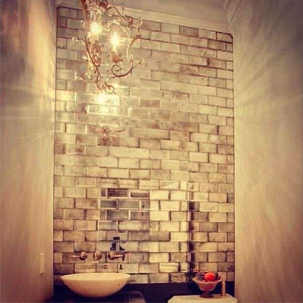 Mirrored subway tiles home decor that i love pinterest for Mirrored subway tiles