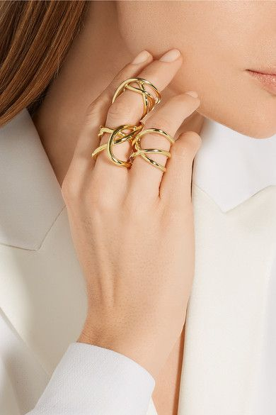 Jennifer Fisher | Large Abstract Line gold-plated ring | NET-A-PORTER.COM