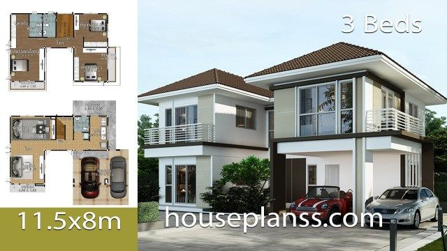 House Design Plans Idea 11 5x8 With 3 Bedrooms Home Ideassearch Beautiful House Plans Home Design Plans Bedroom House Plans
