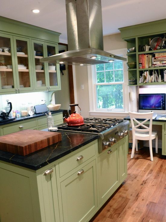 11 best images about green kitchen cabinets on pinterest for Kitchen cabinets green