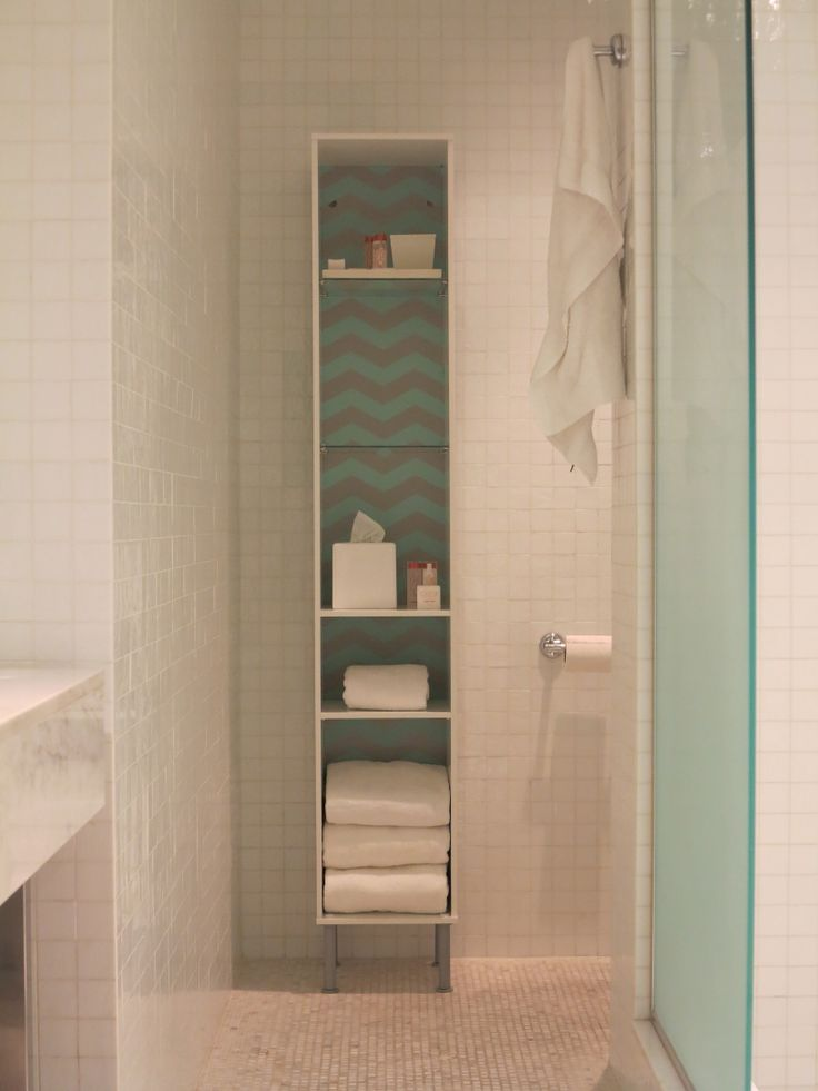 #IKEA #Fullen bathroom #shelf unit with PANYL chevron
