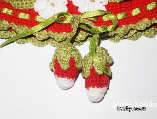 Вязаная ягода Клубника своими руками