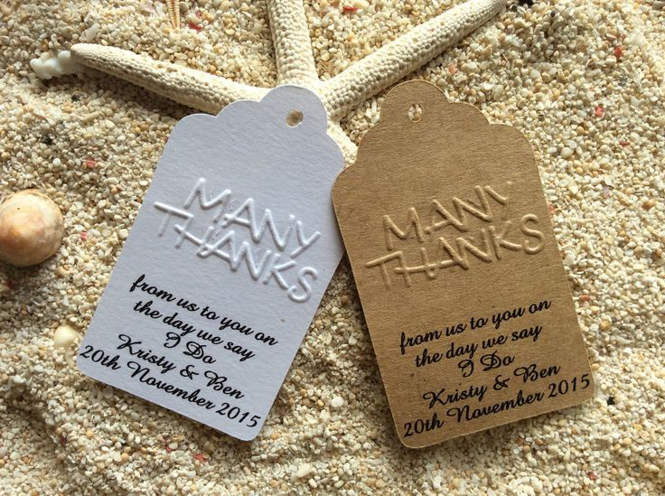 10 Kraft Gift Tags Wedding Favour Bomboniere Personalised Many Thanks