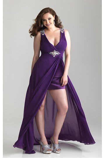 High Low A-line Shoulder Straps Chiffon Prom Dresses