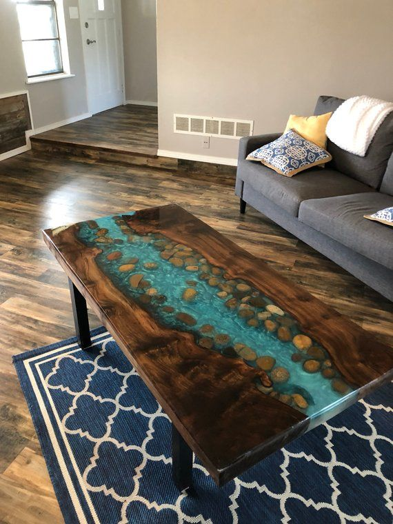 Resin live edge coffee table Stunning River table stone coffee or dining table walnut burl