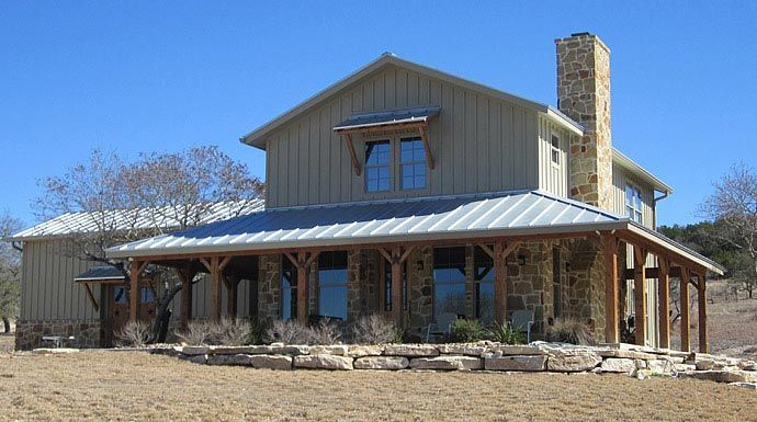 1000 images about metal building homes on pinterest for Texas ranch house plans with porches