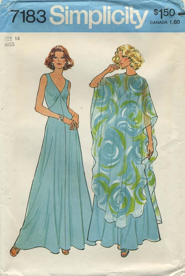 Vintage Sewing Pattern | Simplicity 7183 | Year 1975 | Bust 36 | Waist 28 | Hip 38