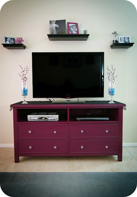 Angela M., this is sort of what I want to do!  But with the pull down top dresser drawers like I was talking about.  And add baskets to the bottom instead of drawers.  I will need your help!  I am on the lookout for an old dresser to distress!
