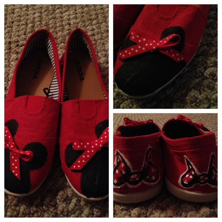 Custom Minnie Mouse shoes #diy #disney