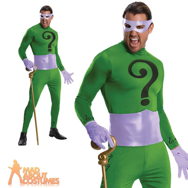 Mens Official Grand Heritage Riddler Costume 1960s Batman