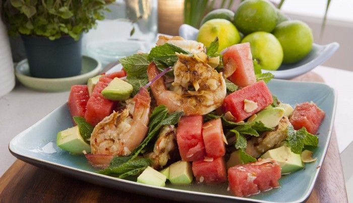 Watermelon and Prawn Salad with Chilli Dressing