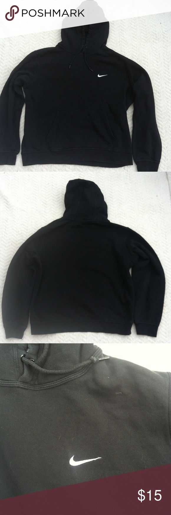 Nike sweatshirt Nike sweatshirt, black with white nike decal. Size is large. Could be men's or women's. Nike Tops Sweatshirts & Hoodies