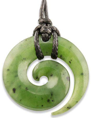 NZ Maori Greenstone Jade Koru Spiral New Life by earthboundkiwi, $44.95