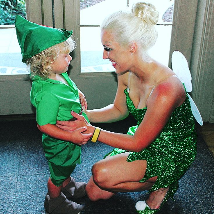 Tinkerbell and Peter Pan mother and son matching Halloween costumes! Disney