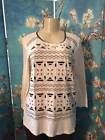 ❦✾ LUCKY #BRAND L IVORY/BLACK STITCHED GEOMETRIC DESIGN COTTON 3/4 SLEEVE #TUNIC TOP http://ebay.to/2ddLtB3