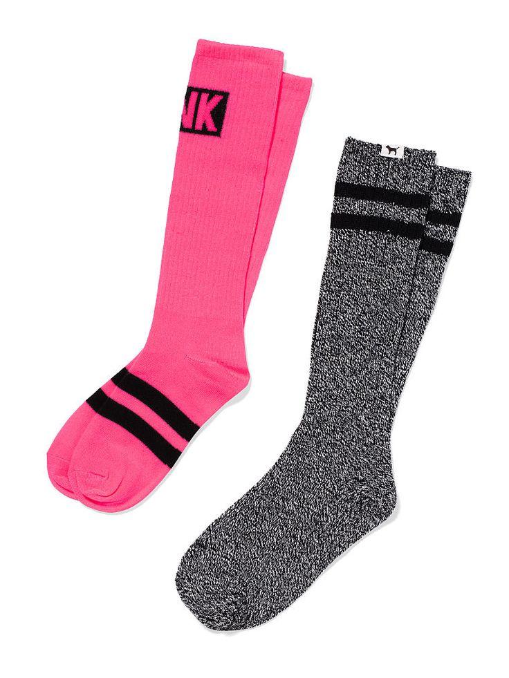 VS PINK Knee Socks in Neon Hot Pink Marled Heather