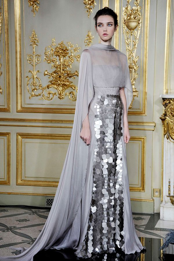 RAMI AL ALI: HAUTE COUTURE FALL/WINTER 2013/14 / elegant silver and grey gown