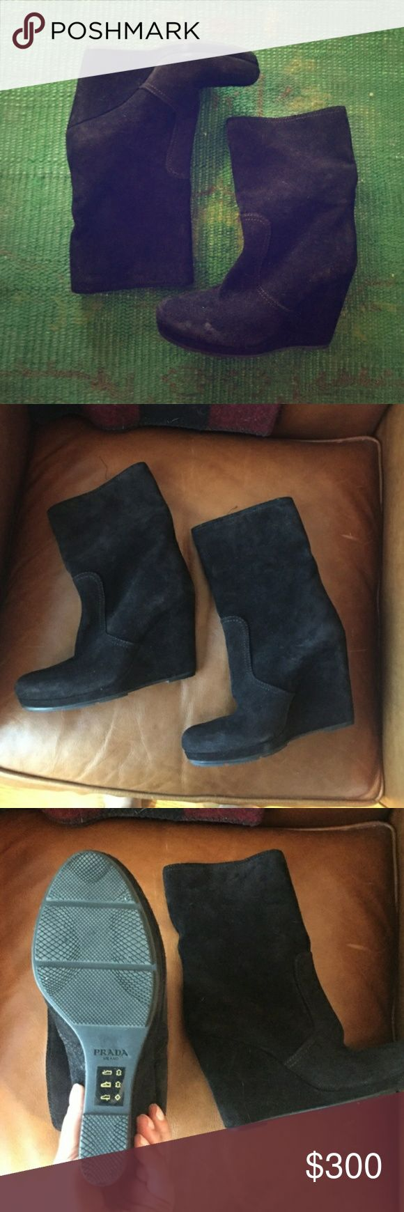 Prada black suede booties nwot Opened to offers.   Originally was going to trade another posher, but it fell through... So opened to trades too! Prada Shoes Ankle Boots & Booties