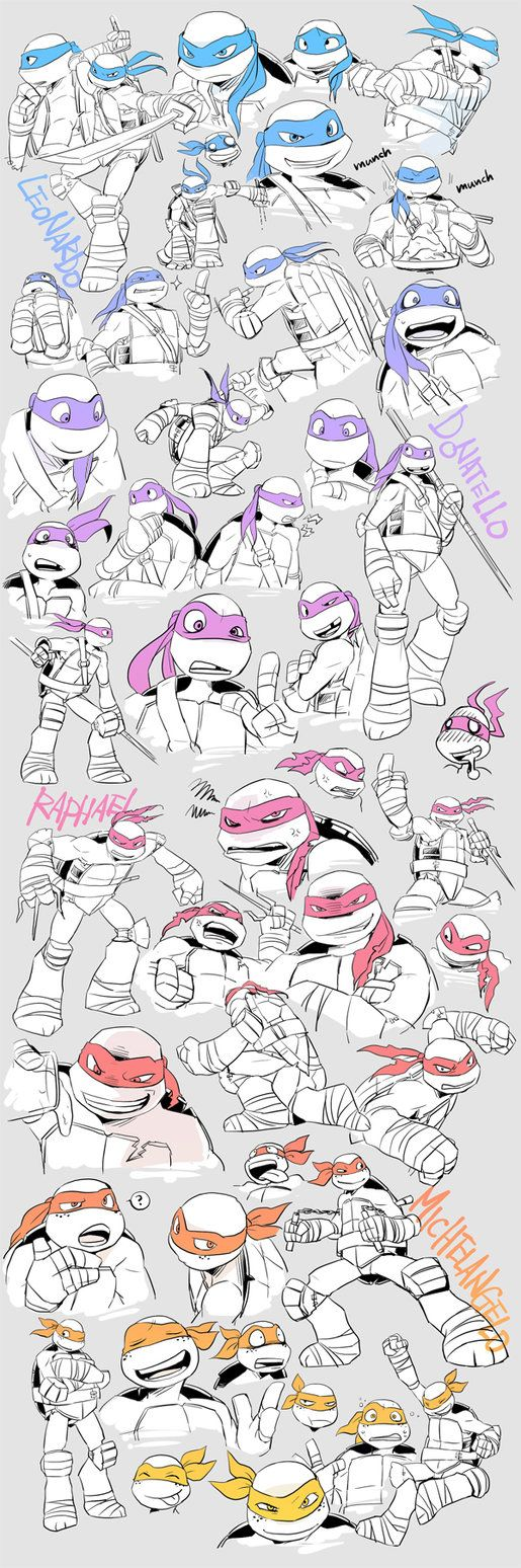 Teenage Mutant Ninja Turtles sketches by http://yu0330.deviantart.com
