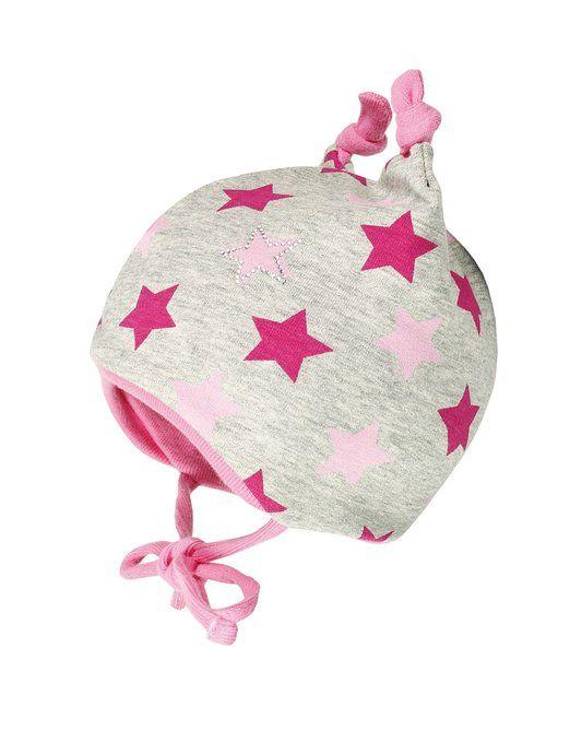 maximo Baby - Mädchen Mütze 55500 - 912600, Gr. 45 cm, Mehrfarbig (rosa nelke- Sterne 25)
