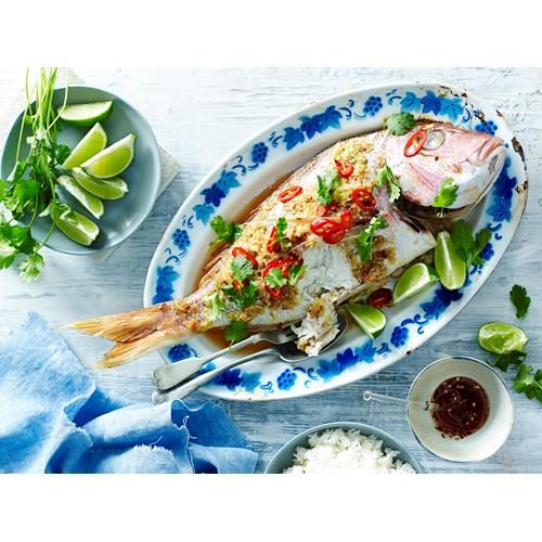 Ginger and lemon grass whole baked snapper recipe - By Australian Women's Weekly, Prepare your tastebuds for a flavour explosion with this glorious ginger and lemon grass baked whole snapper. Serve it up on Easter, at Christmas or for a special family lunch.