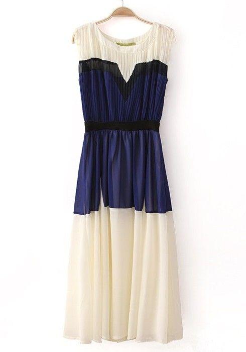 Blue Patchwork Pleated Round Neck Sleeveless Chiffon Dress
