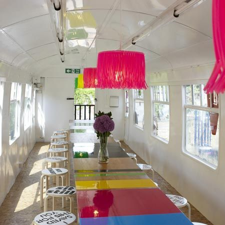 Deptford Project Cafe by Morag Myerscough: Layout Ideas, Morag Myerscough, Cafe Interiors, Google Search, Projects Café, Projects Cafe, Training Cars, Training Carriage, Deptford Projects
