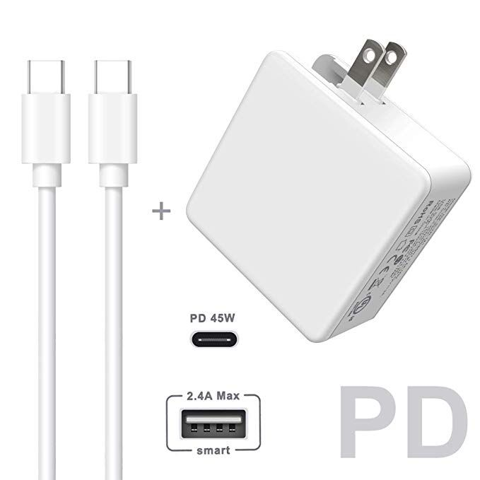 Usb C Pd Charger Quntis Ul Certified Wall Charger With 6ft Usb Type C To Usb Type C 2 0 Cable One 45w Power Delivery Port Wall Charger Fast Charging Adapter