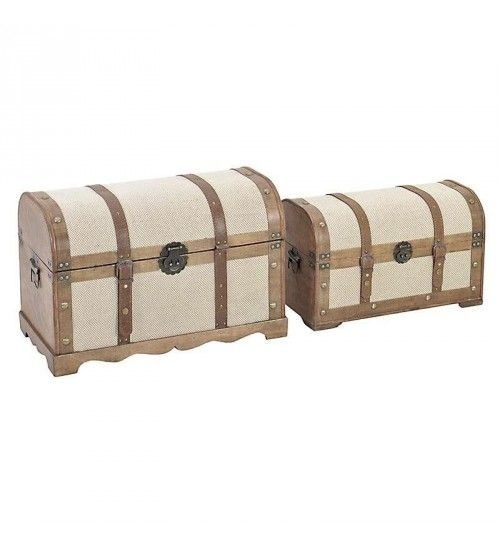 S_2 WOODEN_PU TRUNK IN CREAM-BROWN COLOR 60X32X38