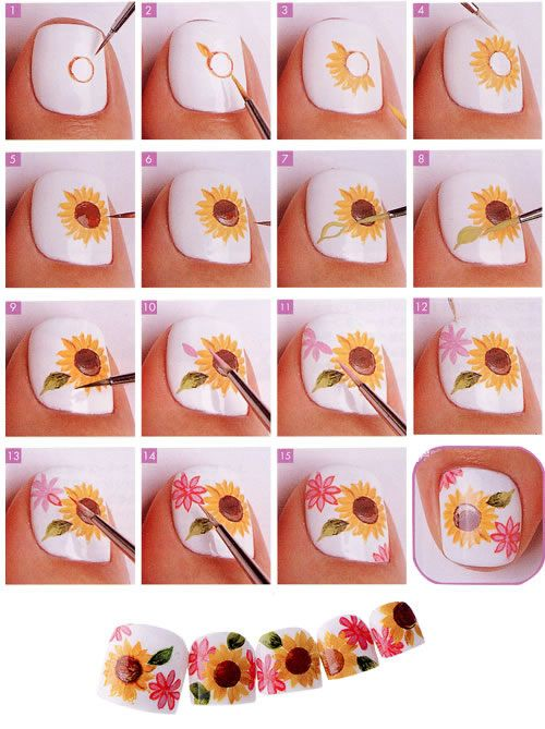 step by step toe nail art: Sunflowers Nails Art, Toenails Design, Nails Art Ideas, Nailart, Summer Toenails, Toe Nails Art, Toe Nails Design, Art Tutorials, Sun Flowers
