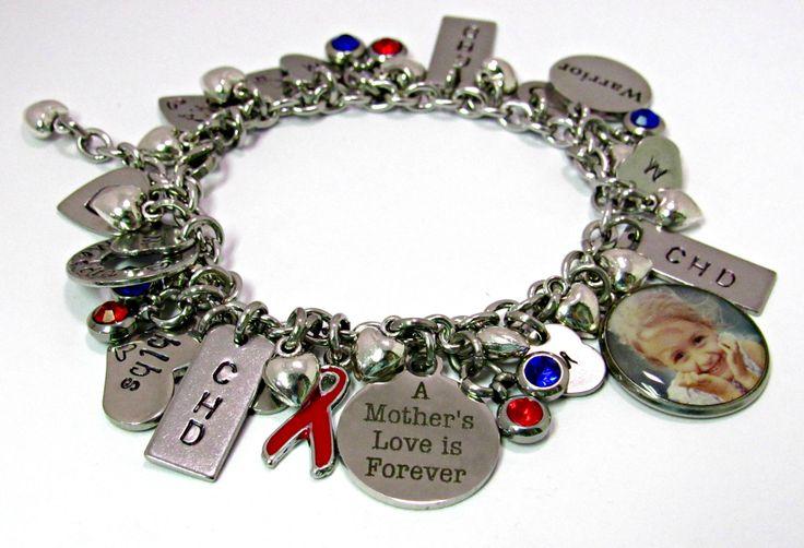 Congenital Heart Defect Bracelet, CHD Charm Bracelet, Red and Blue Bracelet, Stainless Steel Bracelet, Bracelet, Gift For Mom, CHD Charms by ArtistryJewels on Etsy