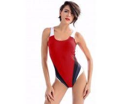 Badeanzug in Rot Schwarz Grau und Weiß