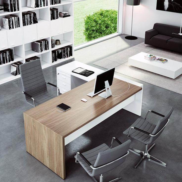 Bureau avec retour simple et top-access, finition Blanc et Erable
