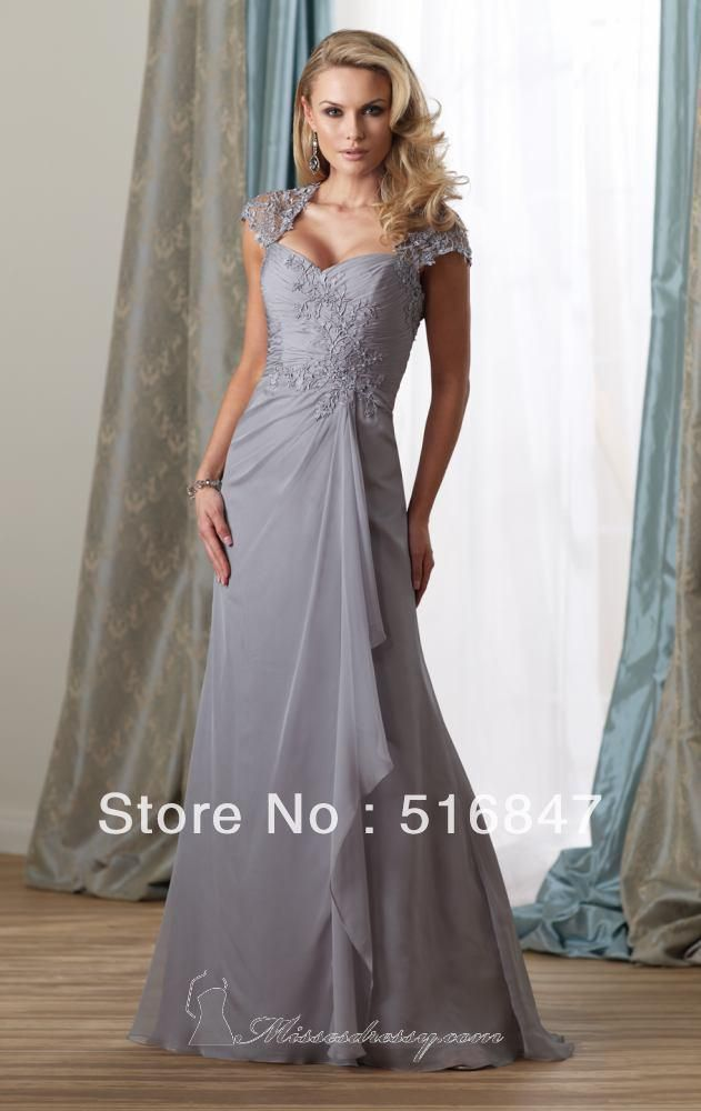 Wholesale Aliexpress - Buy New Arrival Chiffon Silver Long Applique Cap Sleeve Prom Dresses Evening Mother of the Bride Dresses Custom Size $164.0 | DHgate
