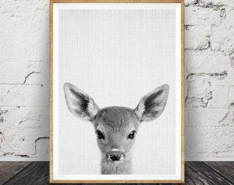 Rabbit Print Woodlands Nursery Rabbit Wall Art Decor by lilandlola