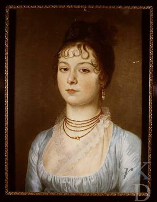 Multi-stringed necklace. Portret van Louise Christine Egbertine Francoise Hora Siccama (1788-1862) particuliere collectie